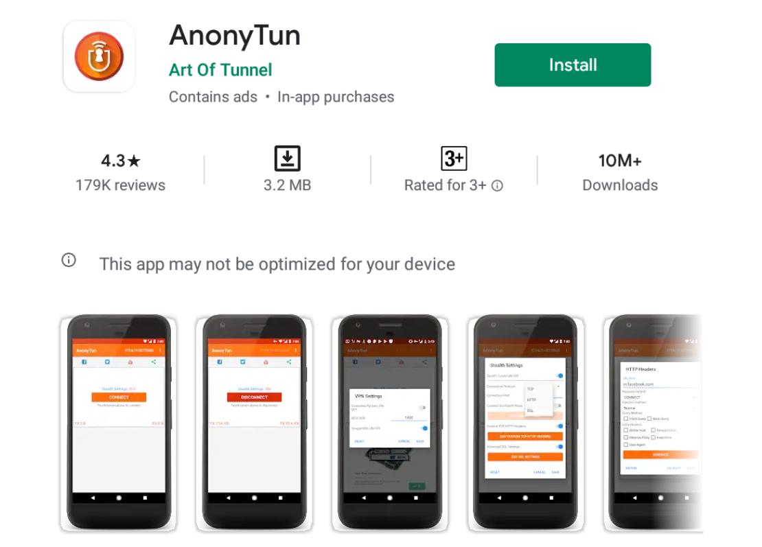 AnonyTun VPN for Windows