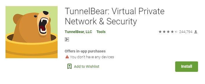 Tunnelbear on pc