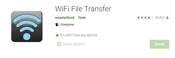 Wi-Fi file transfer for PC